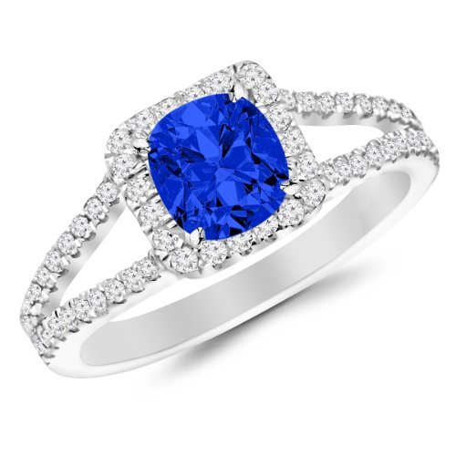 0.9 Carat Classic Double Row Pave Set Split Shank Diamond Engagement Ring 14K White Gold with a 0.5 Carat Cushion Cut AAA Quality Blue Sapphire (Heirloom Quality)