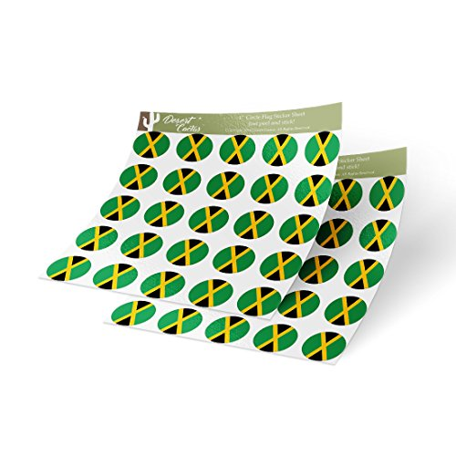 (Jamaica Country Flag Sticker Vinyl Decal 1 Inch Round Two Sheets 50 Total Pieces Kids Logo Scrapbook Car Laptop)