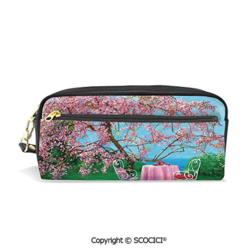 Students PU Pencil Case Pouch Women Purse Wallet Bag Tea Time Theme Vintage Chairs Plum Tree Spring Garden Painting Waterproof Large Capacity Hand Mini Cosmetic Makeup Bag