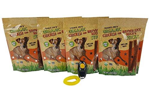 - Trader Joe's Organic Chicken and Brown Rice Recipe Sticks Bundle - 5 oz. - [Pack of 4], Dog Behavior & Training Clicker Included [by APLUSQBG Pet Supply]