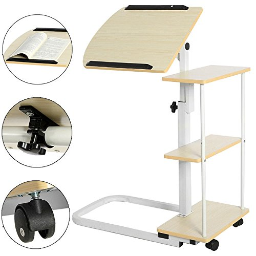 New Overbed Rolling Table With Tilting Top for Laptop Food Tray Hospital Desk Multi Function (Stock US) by Neolifu (Image #2)