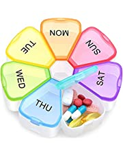 ZUMLLOMA Pillendoos voor 7 dagen, BPA-vrij, 7 vakken, gemakkelijk te openen medicijndoseerder, handige wekelijkse pillendoos voor medicijnen, vitamines, voedingssupplementen en pillen