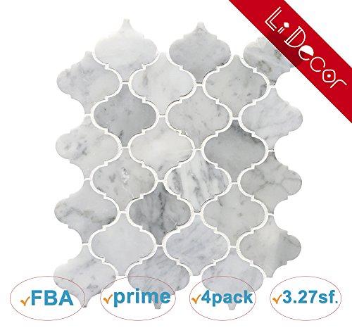 Marble Mosaic Stone Floor Tile (LI DECOR Italian Bianco Carrara White Marble Arabesque Lantern Mosaic Tile Wall Floor Decorative Bathroom Kitchen Backsplash Tiles (3.27sf,4Pack Per Case), Polished)