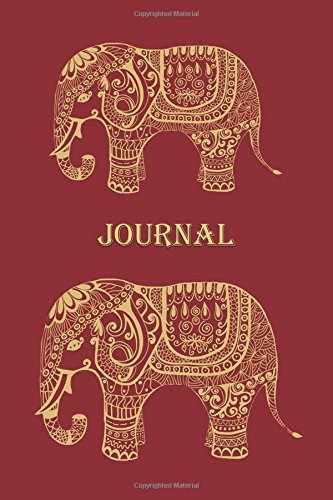 Journal: Elephant (Red) 6x9 - LINED JOURNAL - Journal with lined pages - (Diary, Notebook) (Patterns & Designs Lined Journal Series)