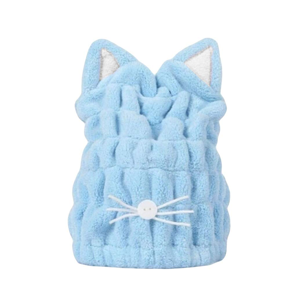 callm Cat Ears Microfiber Hair Turban Quickly Dry Hair Hat Wrapped Towel Bathing Cap - Anti Frizz Absorbent & Soft Shower Towel Cap,Bath Artifact,Quick dryer for Women Girls Mom Daughter (Blue)