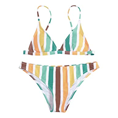 Clfk1j Femmes Rayé Bikini Réglable Pièces Maillots 2 Rosegal Sexy De vwn0mON8