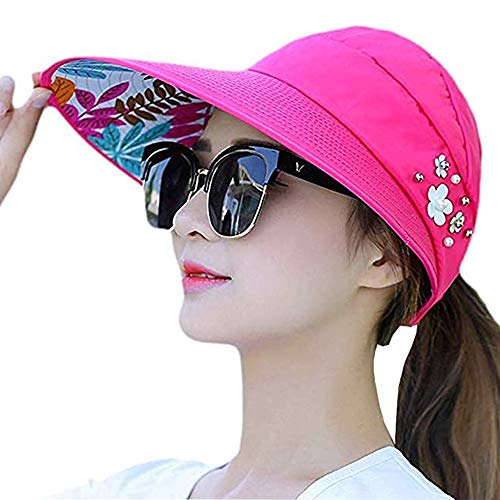 (Sun Visor Hats for Women Large Wide Brim UV Protection Summer Beach Packable Cap (K-Rose Red(Flower)/2))
