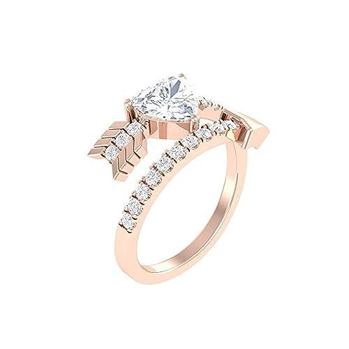 Mejor compromiso anillos de boda en 1,55 Ct blanco circonitas cúbicas forma de corazón