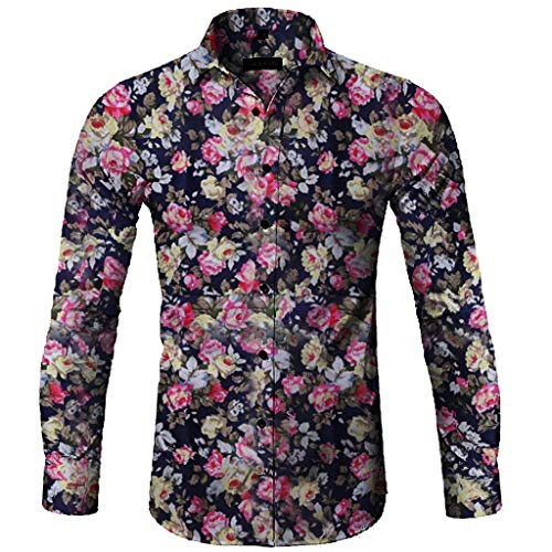 Printed Floral Long Sleeve Button Blouse Fashion Men's Casual T-Shirt Top Black