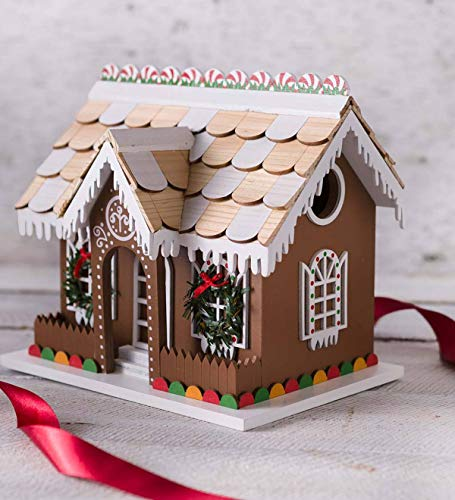 Plow & Hearth Gingerbread Cottage Birdhouse - 6.25 L x 8.75 W x 7.5 H
