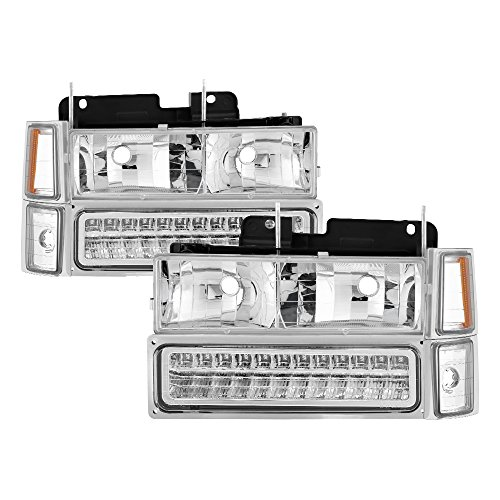 K3500 Crystal - Chevy C/k Series 1500/2500/3500 / Chevy Tahoe /C/k Series 1500/2500/3500 / Chevy Silverado / Chevy Suburban / Chevy Suburban Crystal Headlights w/ Corner & Bumper Chrome Housing with Clear Lens
