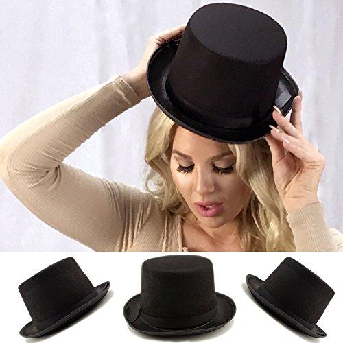 Adorox Sleek Felt Black Top Hat Fancy Costume Party Accessory (Black (1 Hat)) by Adorox (Image #2)