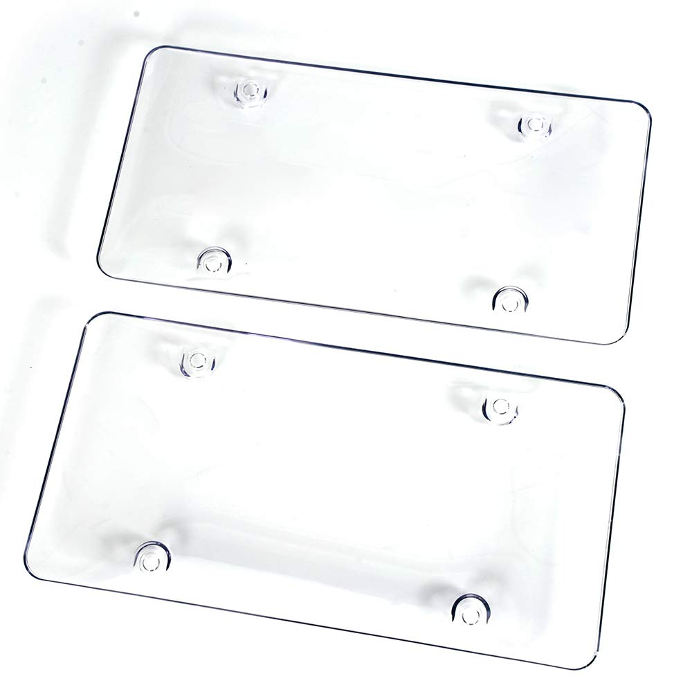 Clear License Plate Cover Premium Quality Novelty//License Bubble Shields Protector Fits US Standard 6x12 Inches 2-Pack Front Back