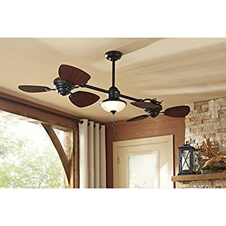 Harbor Breeze Twin Breeze Ii 74 In Oil Rubbed Bronze Outdoor Downrod Ceiling Fan Buy Online In