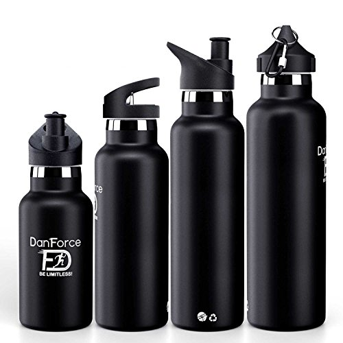 DanForce 12 OZ stainless Steel Sports Water bottle - Double walled metal Vacuum Insulated, BPA Free. Keep 24 Hours Hot , 36 Hours cold, Comes with leak proof Straw,Sports and Cap lids, 12-24 Ounces