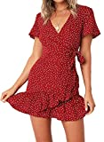 Relipop Summer Women Short Sleeve Print Dress V Neck Casual Short Dresses (Small, Red)