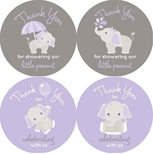 2 Inch Thank You Stickers Gray Elephant Set of 60 (Purple) -