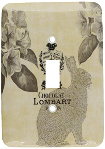 3dRose LLC lsp_155731_1 Bunny and Flowers French Vintage Single Toggle Switch -