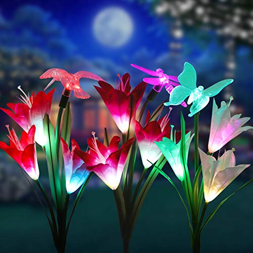 - Solar Garden Outdoor Lights, Sunjoyco 3-Pack Solar Flower Lights Outdoor Color Changing Decorative Landscape Lawn Yard Stake Patio Lily Butterfly Dragonfly Hummingbird Lights Solar Powered