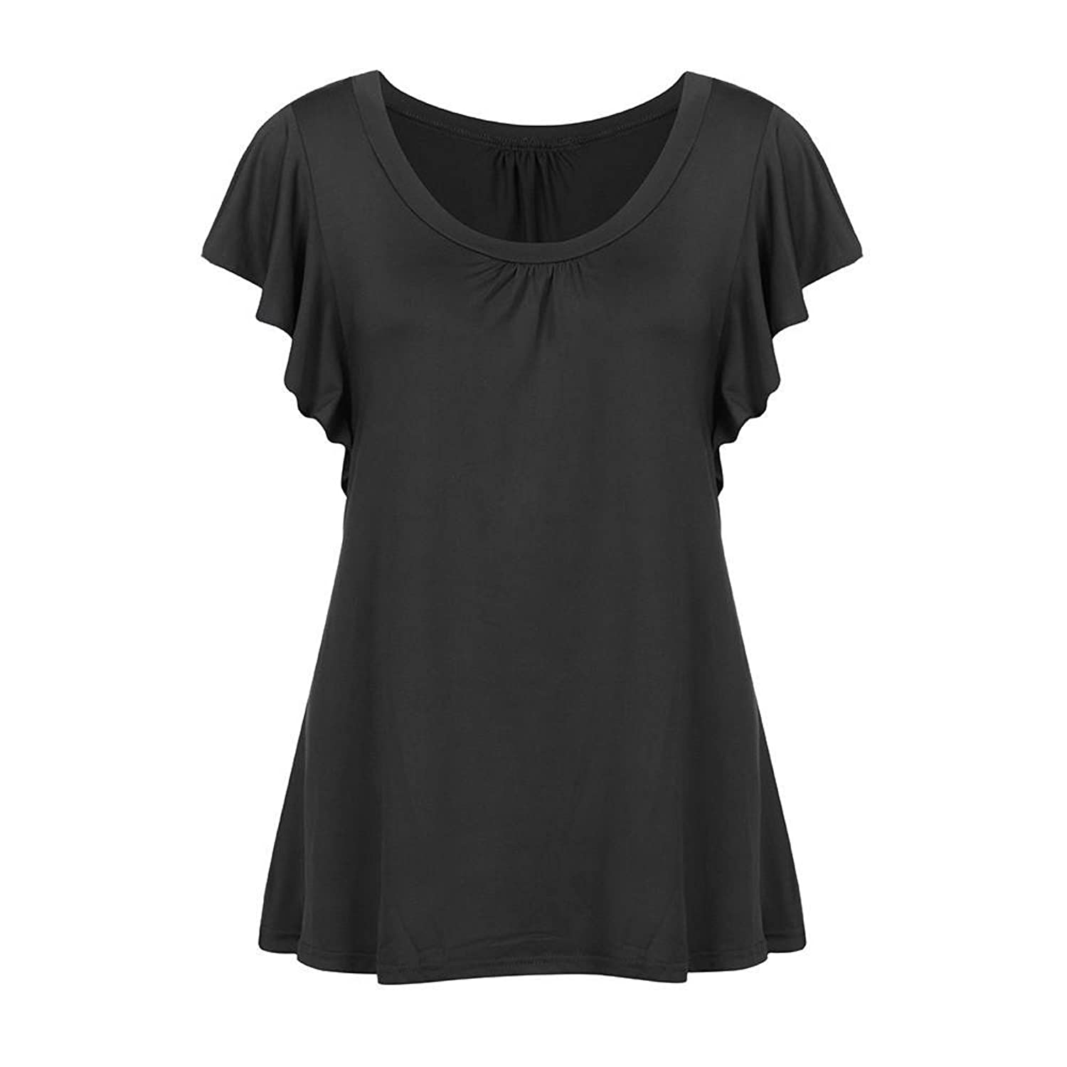 Amazon.com: DondPO Womens Blouse Solid Short Sleeve Round Neck T-Shirt Comfy Casual Pleated Tops Casual Flowy Tee Shirt Tunic Plus Size: Clothing