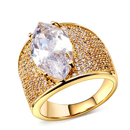 Bishilin 18K Gold Plated Solitaire Marquis Zirconia Wedding Ring And Band For Women Size 8