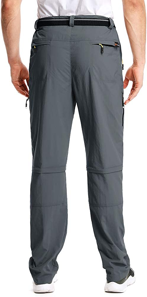 Mens Hiking Pants Safari Quick Dry Convertible Zip Off Scout Lightweight Adventure Trekking Pants Shorts,M1111,Gray,30