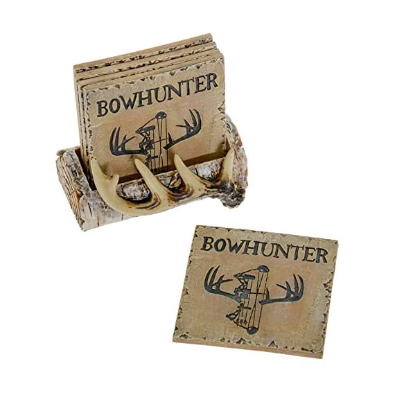 Pine Ridge Home Antler Wood Log Coaster Set with Holder - Bow Hunter Country Absorbent Coaster Decor - Cabin Lodge Home… - PROTECT YOUR FURNITURE: No more drips, puddles, damage, or water stains! The cork on the back of antler drink coasters protects your table from scratches and damage. The cabin coasters also sticks tightly to the countertop and provides good gripping power to prevent the country coasters from slipping off the table. These novelty coasters do not stick to bottom of cups or glasses when lifted. DEER DECORATIONS FOR HOME: With our functional coasters and holder set, you can feel prepared using the best coasters to keep your furniture looking nice for years to come. Use all 5 square drinking cup mats deer coaster set throughout your house, make it easy to leave drinkware on your wooden furniture without harming them. And the real bonus is they look classy and stylish in any home! NON-SKID & NON-SLIP BOTTOM DRINK COASTERS: Cabin decor coasters and coaster holder western has four non-skid padded feet on the bottom to protect table surfaces. Wildlife coaster sets with holder won't slide off your table or scratch your furniture. - living-room-decor, living-room, home-decor - 51KTnEOLGxL. SS570  -