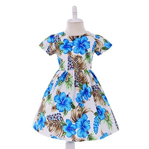 Mädchen Sommer Kleider Longra Kleinkind Baby Kinder Kleider Mädchen Crewneck Langarm Kleid Baumwolle Kurzarm T-Shirt Kleid Blaues Kleid Blumen Prinzessin Party Pageant Kleid Blue