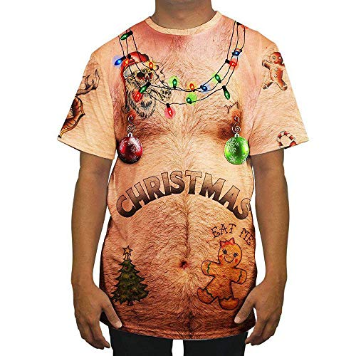 Malbaba Christmas Costume, Men Funny Sexy Christmas 3D Print O Neck Short Sleeve Blouse Tops T -