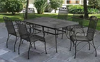 Patio Dining Set Outdoor  7 Piece, Wrought Iron, Black