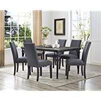 Roundhill Furniture T163-C162GY-C162GY-C162GY Biony 7-Piece 7 Espresso Wood Dining Set with Gray Fabric Nail Head Chairs
