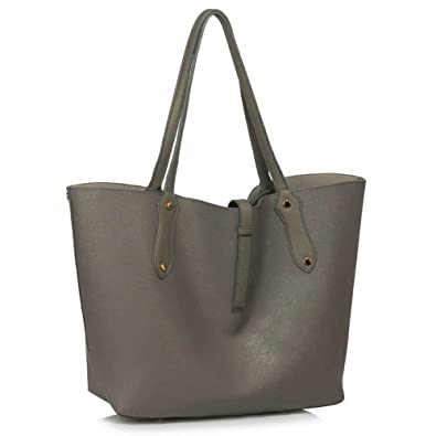 3e025569b6 Womens Fashion Tote Shoulder Bags Ladies Large Designer Faux Leather New  Handbag (A - Grey