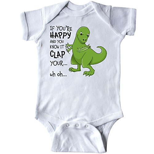 inktastic - T-Rex Can't Clap Infant Creeper 6 Months White 2cfec ()