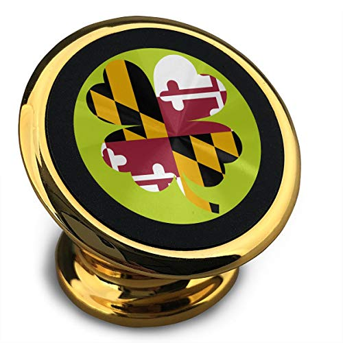 Maryland Flag Four Leaf Clover Funny Cellphone Mount Magnetic Car Stand