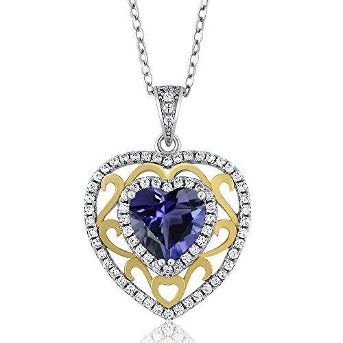 2.13 Ct Heart Shape Blue Iolite 925 Sterling Silver Pendant