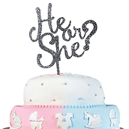 JennyGems Gender Reveal Party & Baby Shower Cake Topper Decoration - He or She? (Baby Shower Souvenirs Ideas)