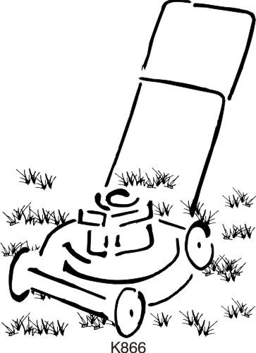 Brush Lawn Mower Rubber Stamp By DRS Designs