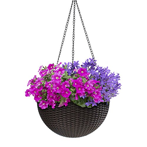 Sorbus Hanging Planter Round Self-Watering Basket, Resin Woven Wicker Style, Great for Home, Garden, Patio - Espresso Brown (Medium)