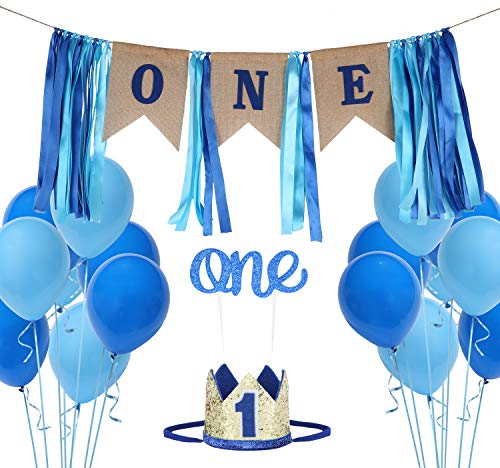 1st Birthday Boy Decoration Set One Blue Birthday High Chair Banner, Glitter Cake Topper, Glitter Crown,20pcs Balloons With Streamers -