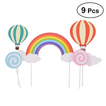 BESTONZON - 9 adornos para cupcakes, diseño de arcoíris y ...
