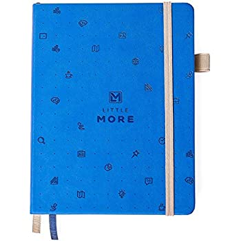 Bullet Journal Dot Grid Notebook - Dotted Notebook / Journal Hardcover with Thick Paper - Blue Leather Pocket Bullet Planner / Diary with Numbered Pages & Pen Loop for Women and Girls + Stickers
