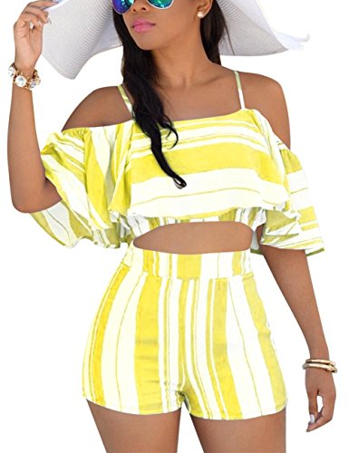 Vilover Women Sexy Spaghetti Strap Floral Print Crop Top Short Pants Jumpsuits 2 Piece - Piece Sheer 2 Tie