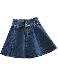 Women's A-line High Waist Relaxed Short Full Denim Jeans Skirts Plus Size