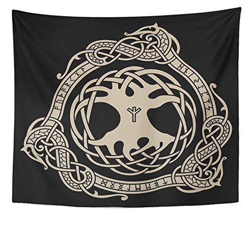 Emvency Tapestry Artwork Wall Hanging Yggdrasil Design of Raven in Celtic Scandinavian Style and Norse Runes Black Ancient 50x60 Inches Tapestries Mattress Tablecloth Curtain Home Decor Print]()
