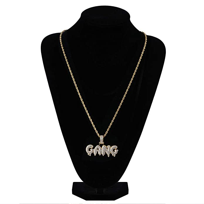 d8b1e7098 HECHUANG Micropave Simulated Diamond Iced Out Custom Bubble Letters Gang  Dripping Initial Pendant with Rope Chain Hip Hop Necklace (Gold, 30):  Amazon.ca: ...
