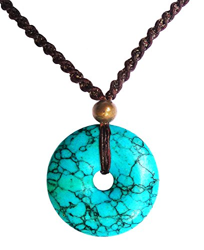 Bijoux De Ja Handmade Blue Turquoise Howlite Hollow Round Pendant Braided Necklace 18 Inches
