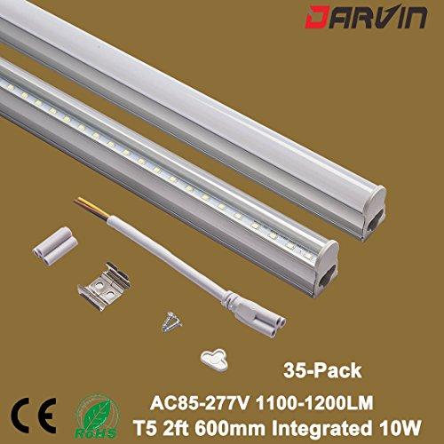 Led T5 Tube Lamp 600mm 10W Integrated Led Light 2ft 6000K (Warm White 3000-3500K, Milky Cover)