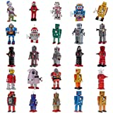 MonkeyJack 25pcs Set Vintage Mechanical Walking Robot Spaceman Classic Wind Up Toys Metal Tin Toys Model Home Decor Party Favours