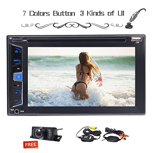 Universal Double 2 DIN 6.2 inch In Dash Stereo Autoradio Car DVD CD USB FM/AM/RDS radio tuner Muti-touchscreen In Dash Headunit Steering Wheel Control+Remote Control+Free wireless camera
