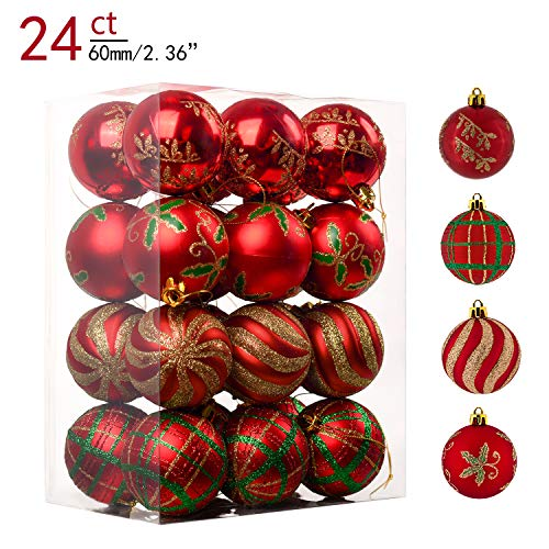 Teresas Collections 24ct 60mm Country Road Red Green and Gold Shatterproof Christmas Ball Ornaments Decoration,Themed with Tree Skirt(Not Included)